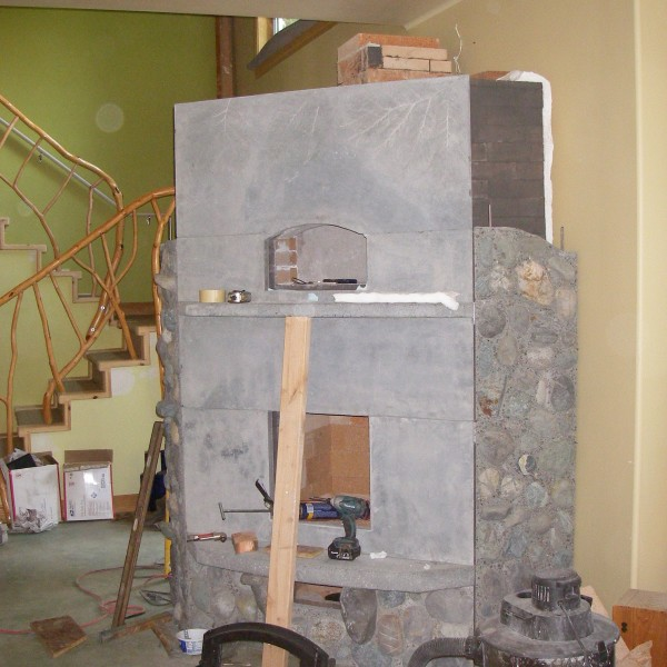 Construction of a Finnish Fireplace in progress