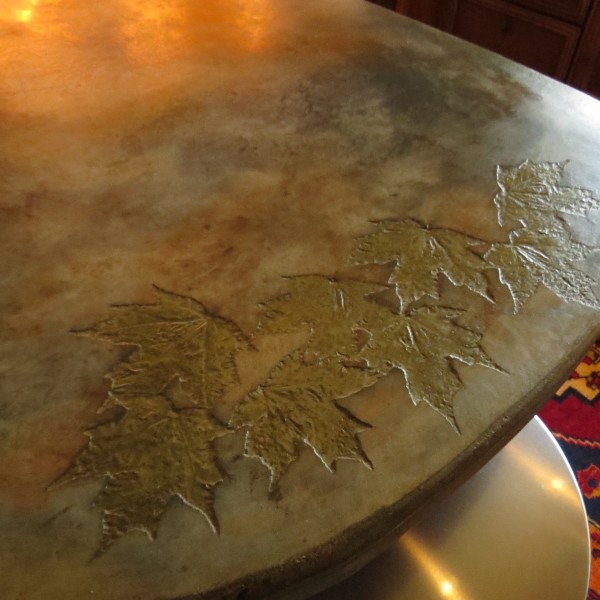 Maple leaf inlay on a countertop