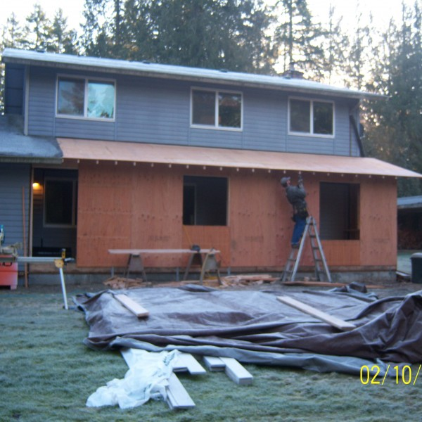 Outside of the Hayett Residence during the kitchen renovation